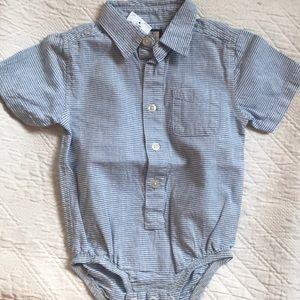 Oshkosh Oxford stripe button front onesie-18m-New
